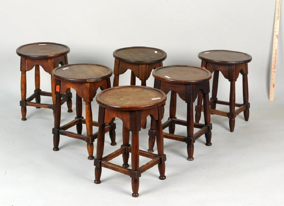 Group Of Six Hardwood Stools
