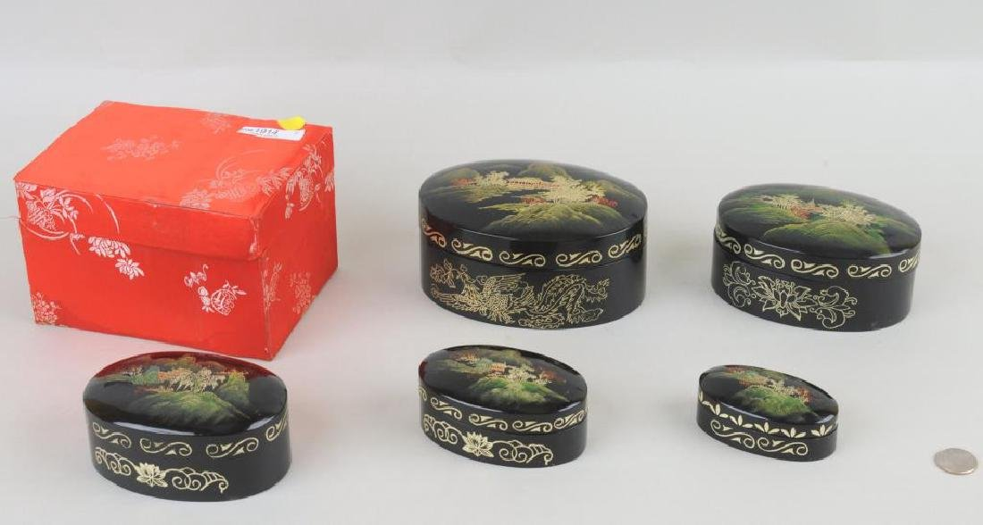 Group of Five Asian Lacquered Nesting Boxes