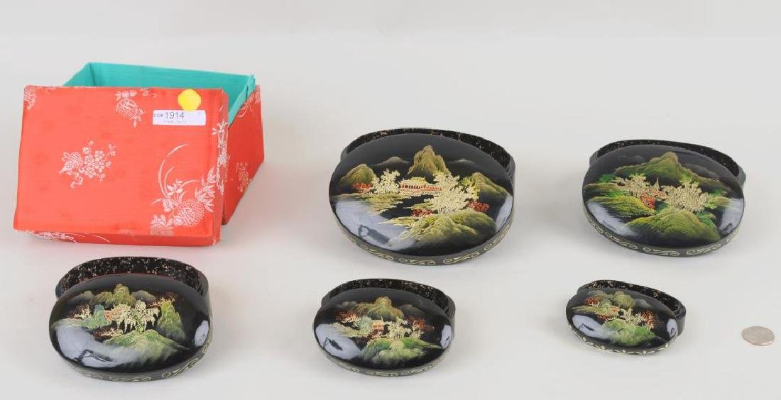 Group of Five Asian Lacquered Nesting Boxes - 2