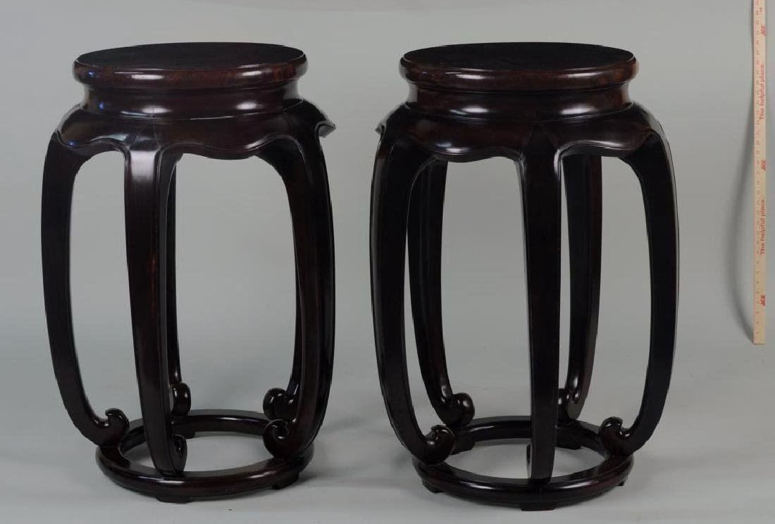 Pair Of Asian Contemporary Burlwood Stands - 3
