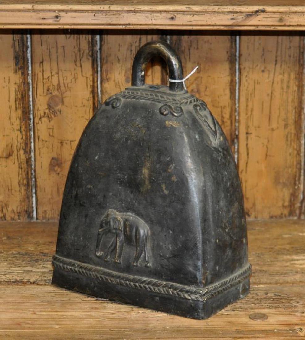 Thai Bronze Temple Bell, Elephant Motif