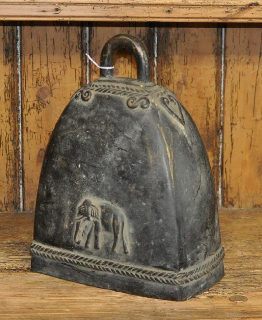 Thai Bronze Temple Bell, Elephant Motif - 2
