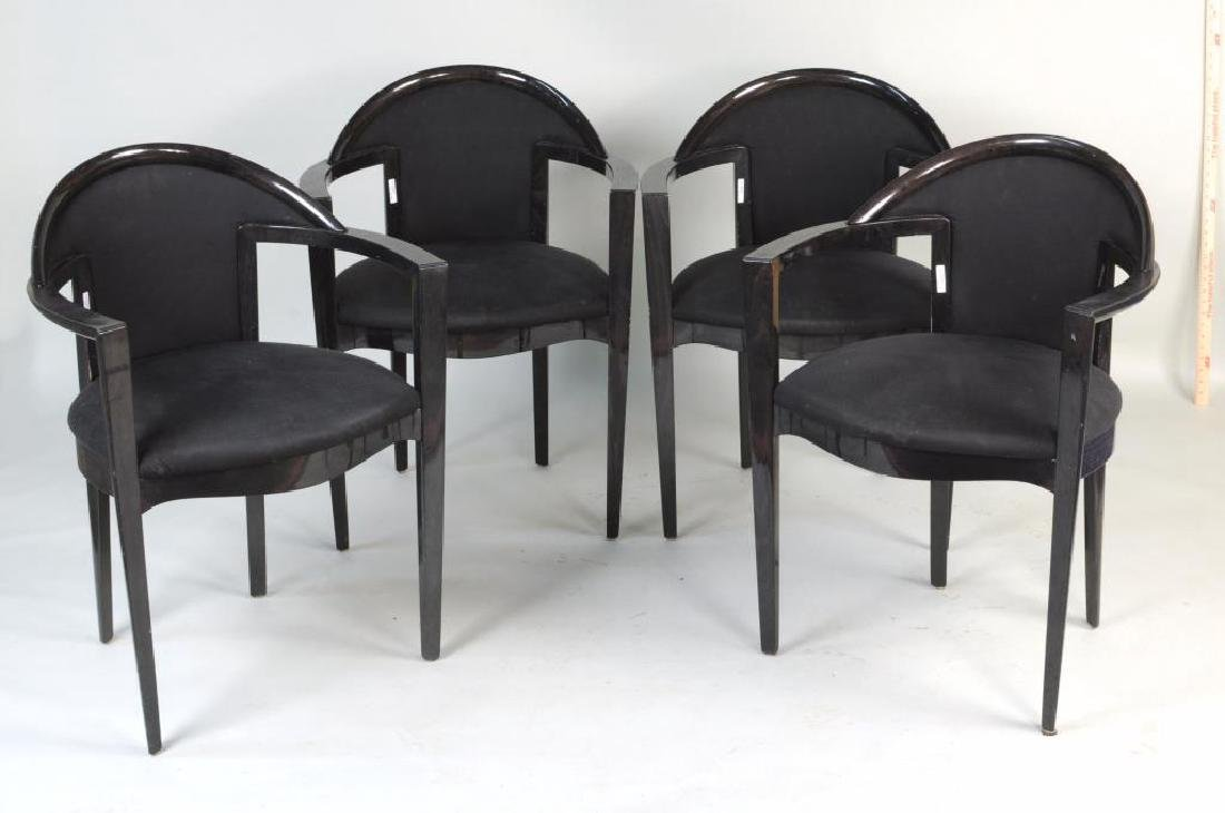 Set Four Italian Modernist Open Armchairs