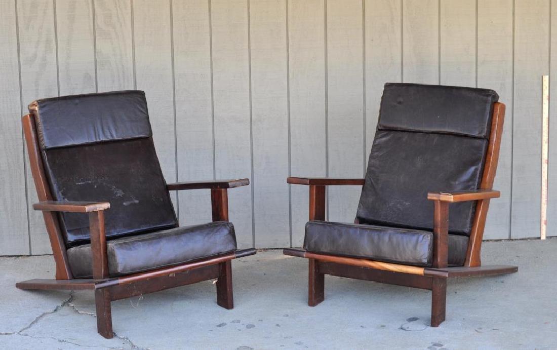 Pair Modern Brazilian Hardwood Arm Chairs