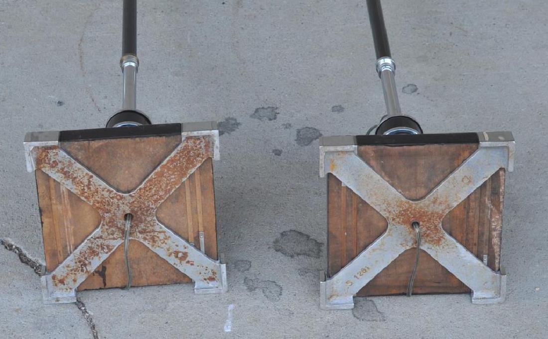 Pair Art Deco Chrome & Painted Wood Floor Lamps - 3