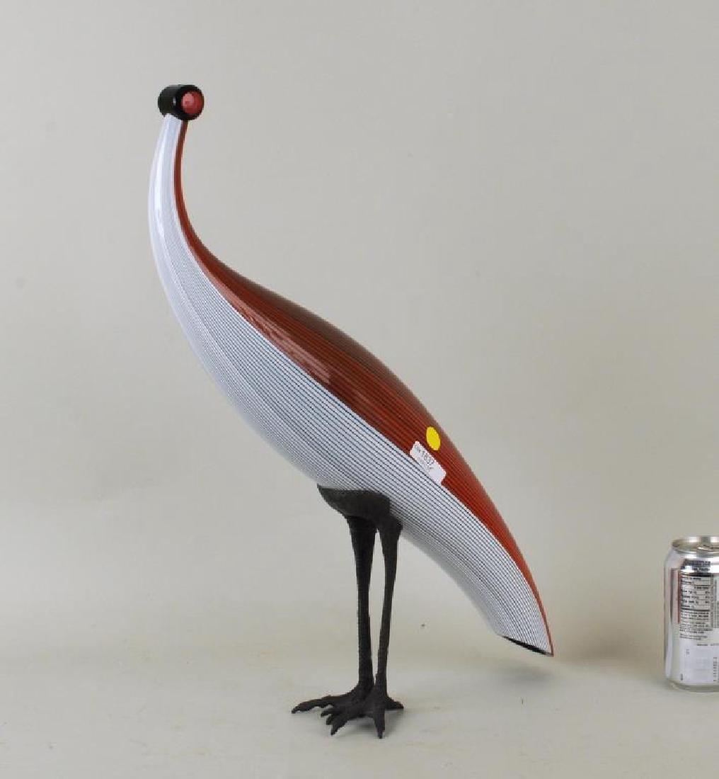 Mario Ticco-Pavone Murano Glass & Metal Bird