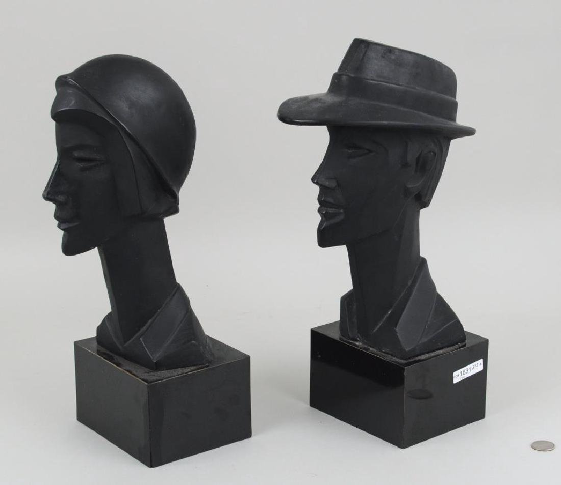 Pair Plaster Busts, Art Deco Style