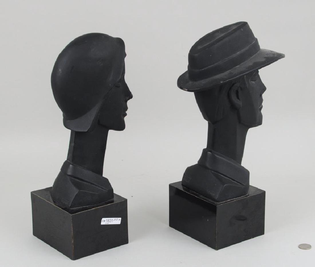 Pair Plaster Busts, Art Deco Style - 2