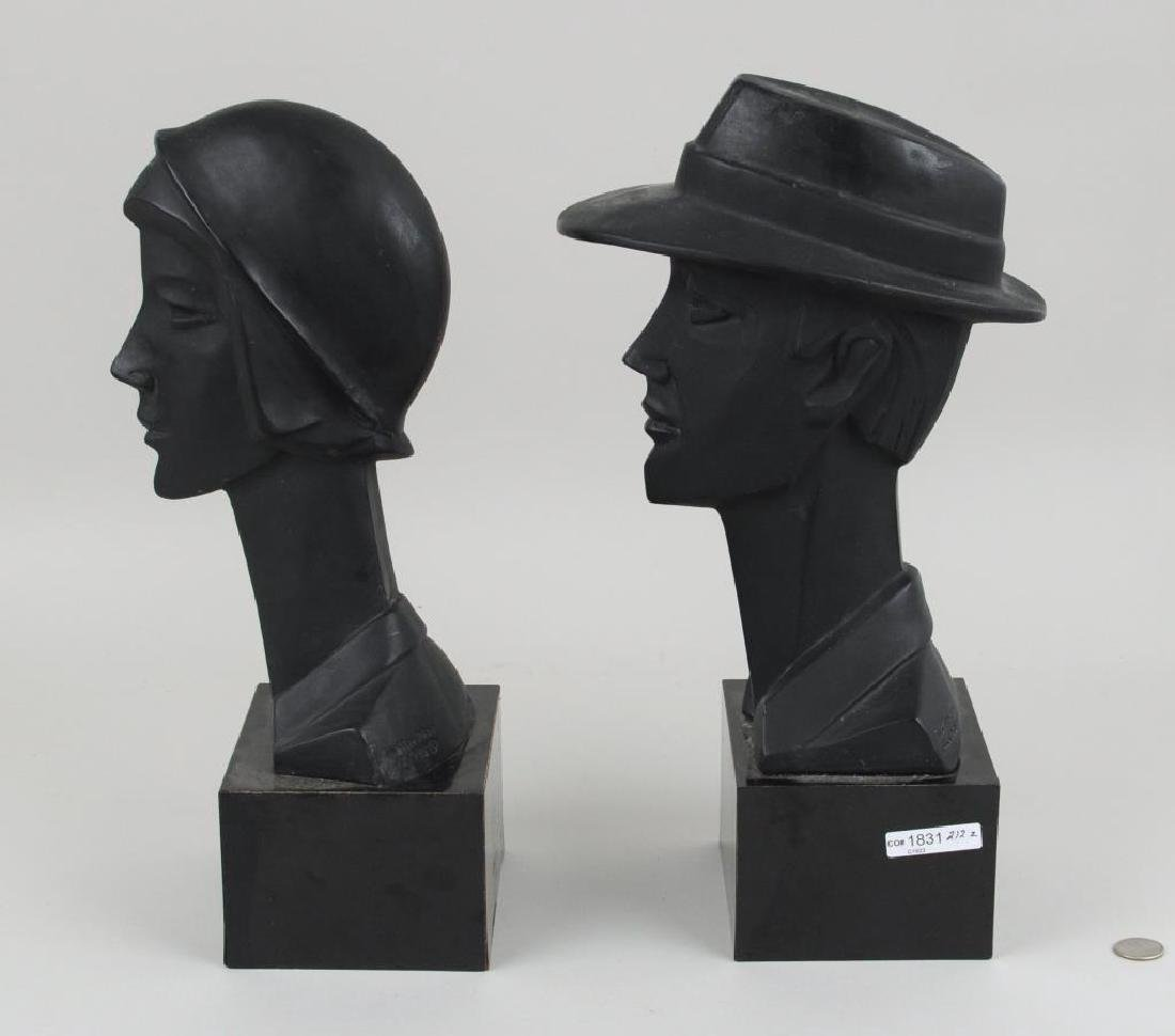Pair Plaster Busts, Art Deco Style - 3
