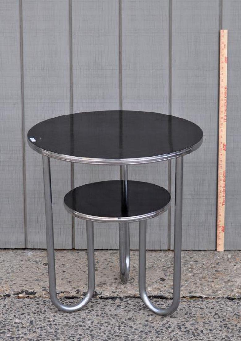 Modern Chrome Round Table W/Black Formica Tops
