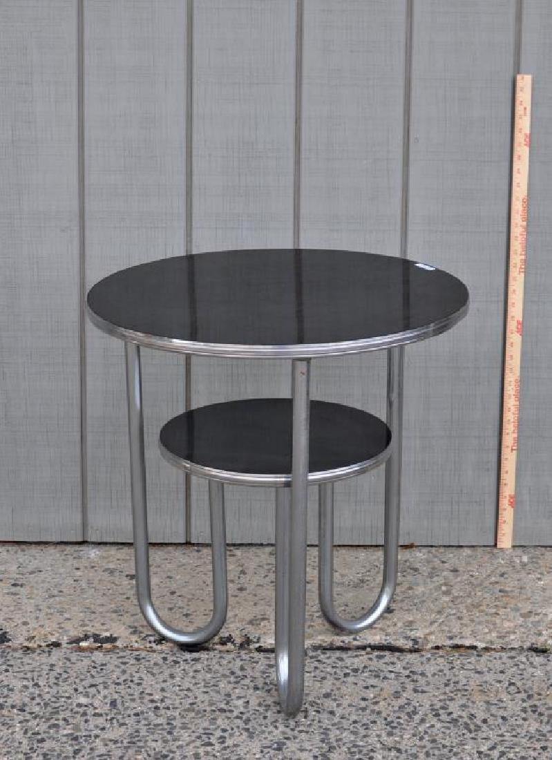 Modern Chrome Round Table W/Black Formica Tops - 2