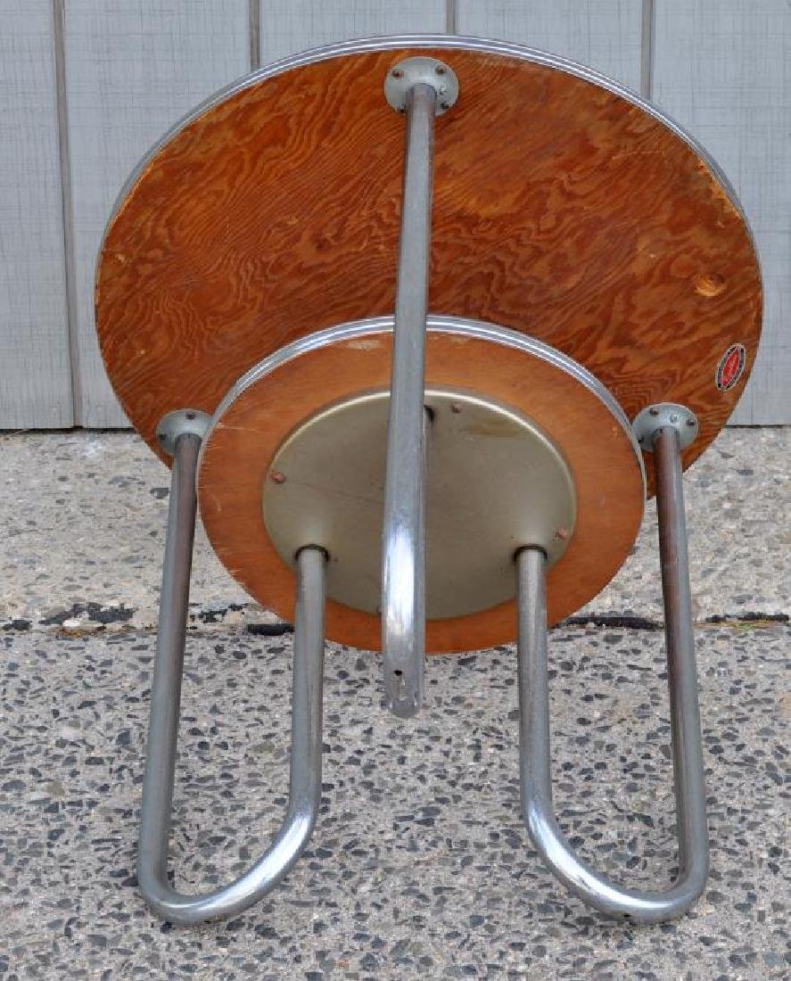 Modern Chrome Round Table W/Black Formica Tops - 3