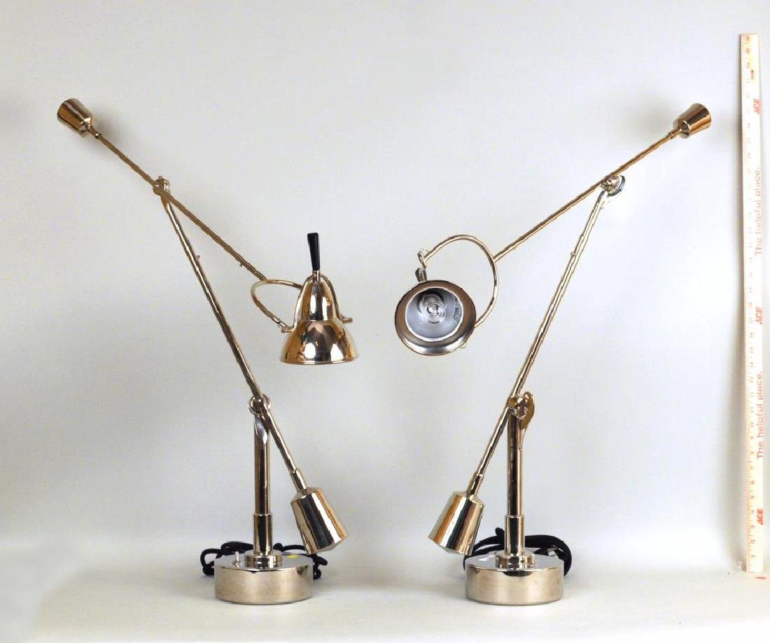 Pair Modernist Chrome Hinged Counter-Balance Lamps