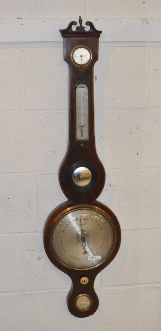 English Inlaid Mahogany Banjo Barometer