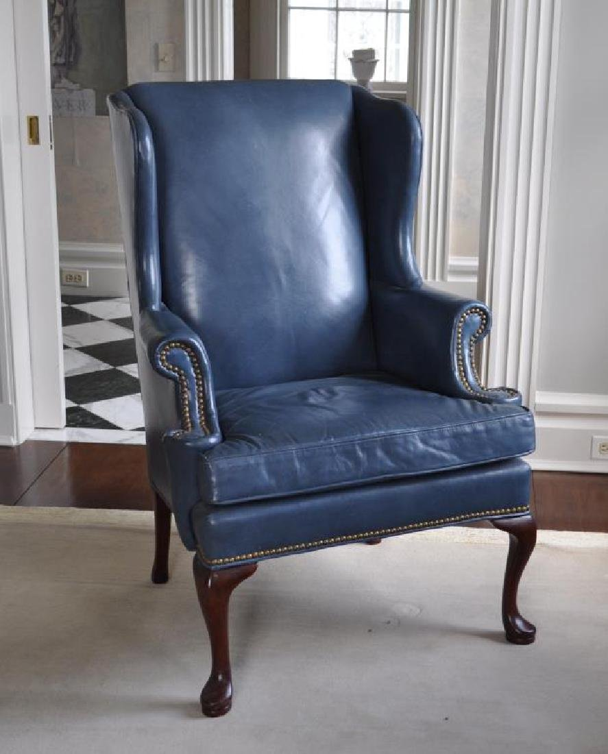 Queen Anne Style Blue Leather Wing Chair
