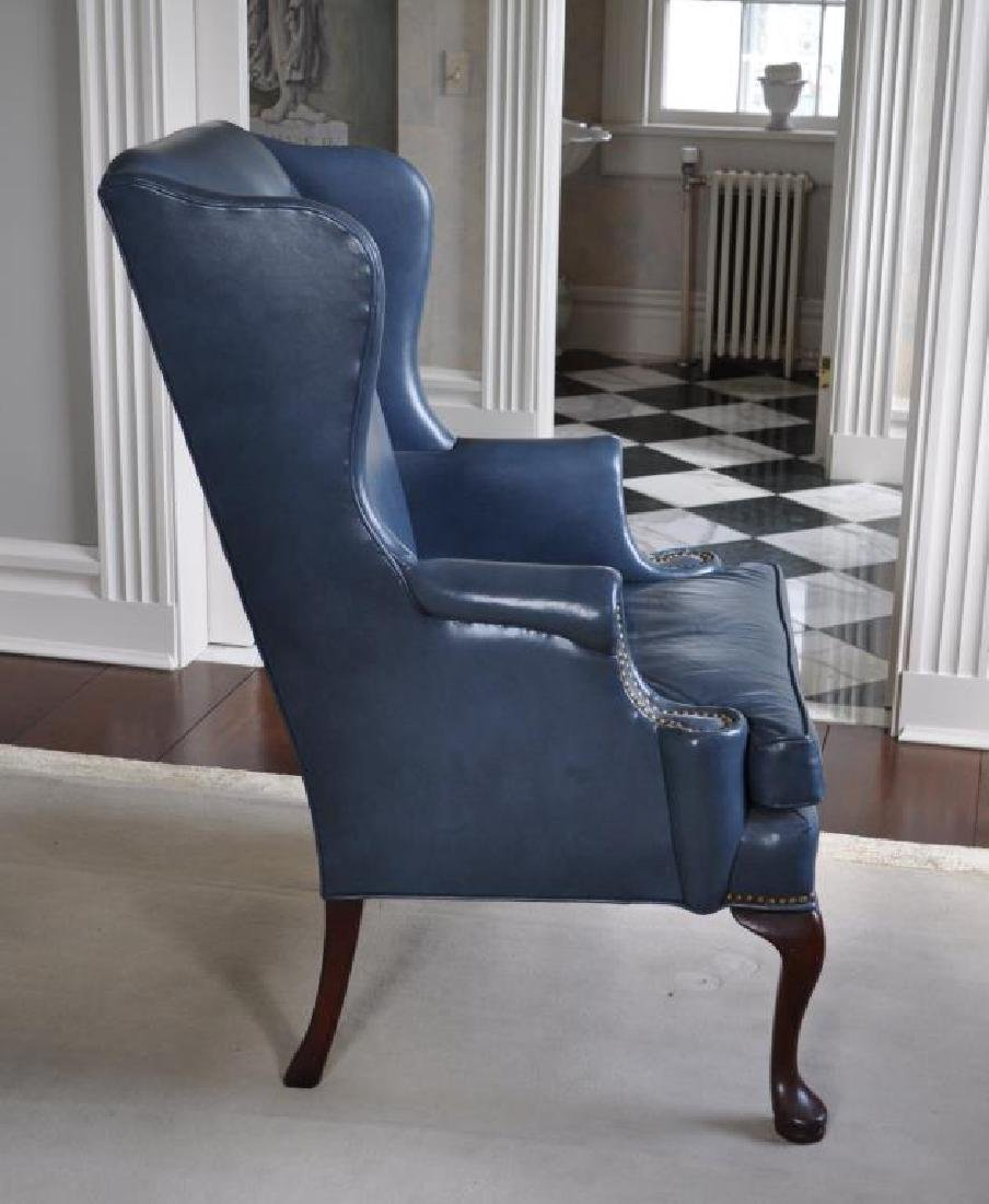Queen Anne Style Blue Leather Wing Chair - 2
