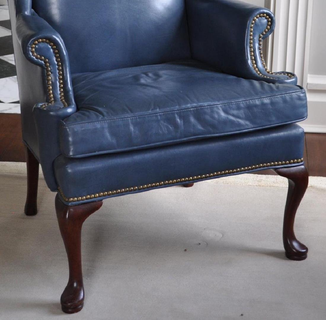 Queen Anne Style Blue Leather Wing Chair - 3