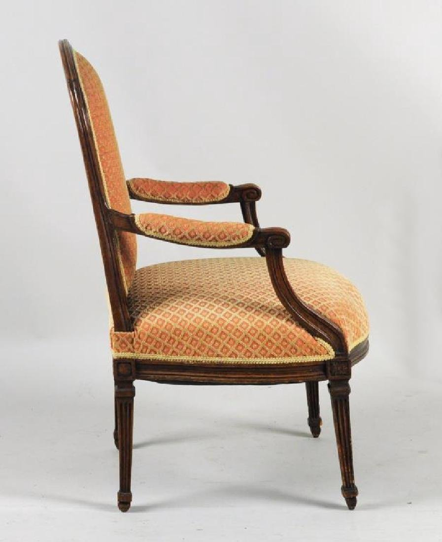 English Open Arm Chair, French Taste - 4
