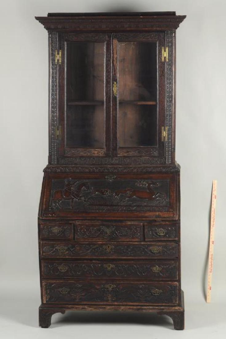 Folk Art Carved Oak Bureau Bookcase