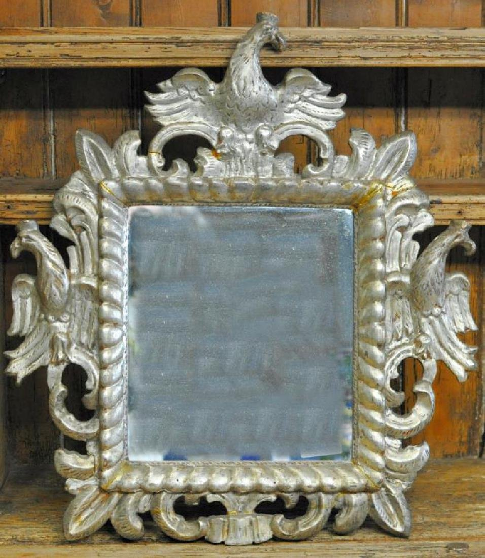 Austrian Carved Silver Gilt Mirror.