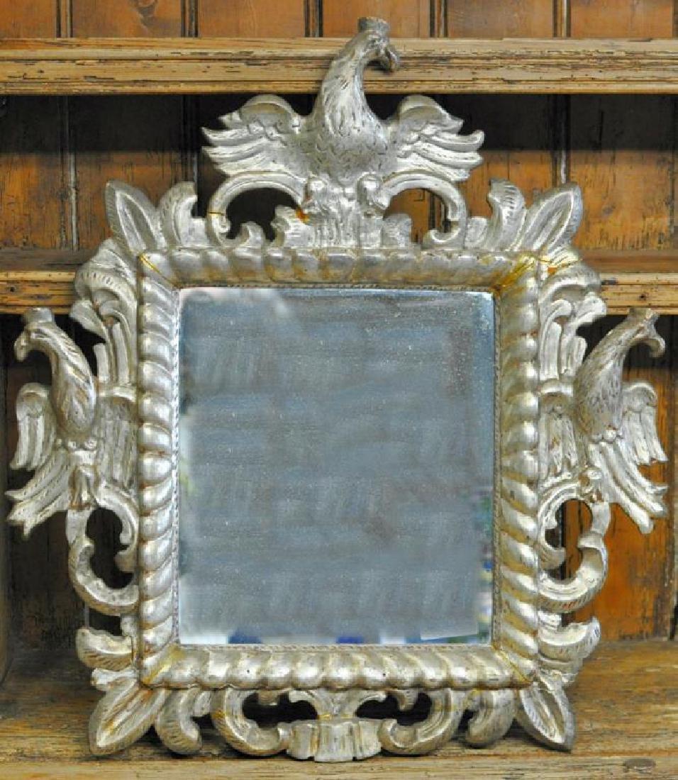 Austrian Carved Silver Gilt Mirror.