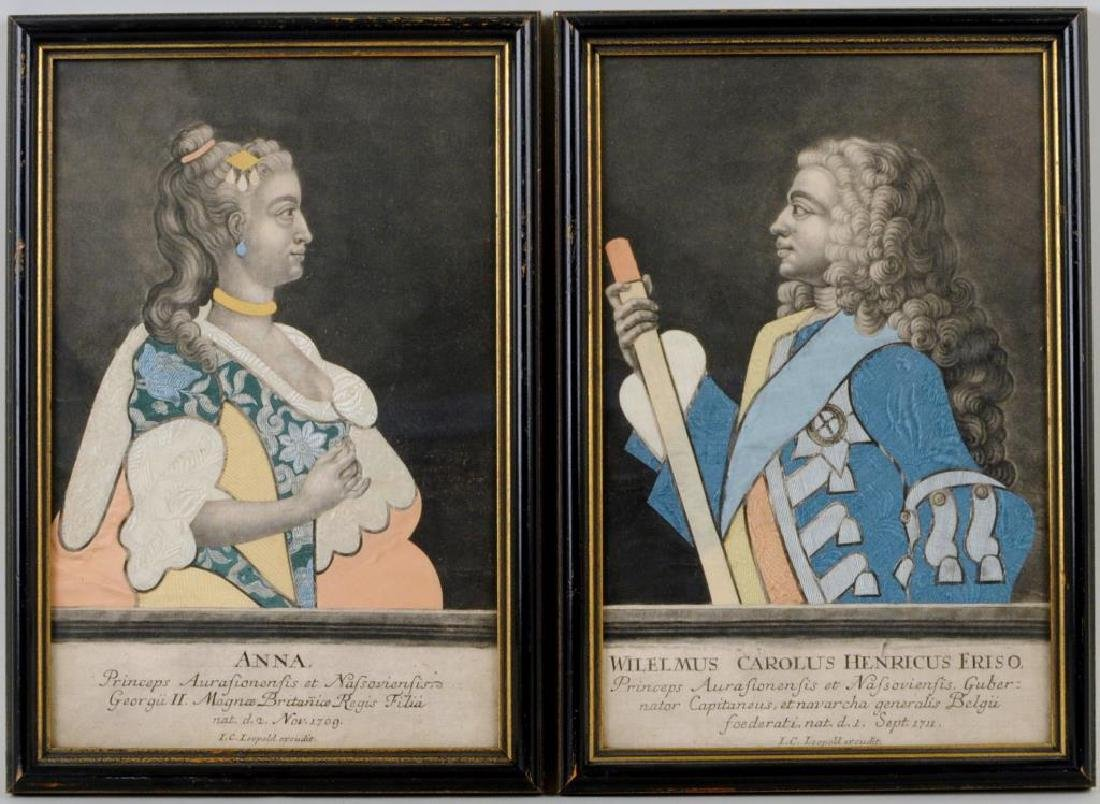 Pair Framed Fabric & Paper Collages