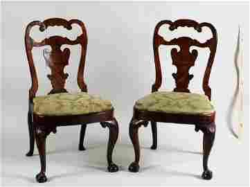 Pair Queen Anne Walnut Veneer Side Chairs