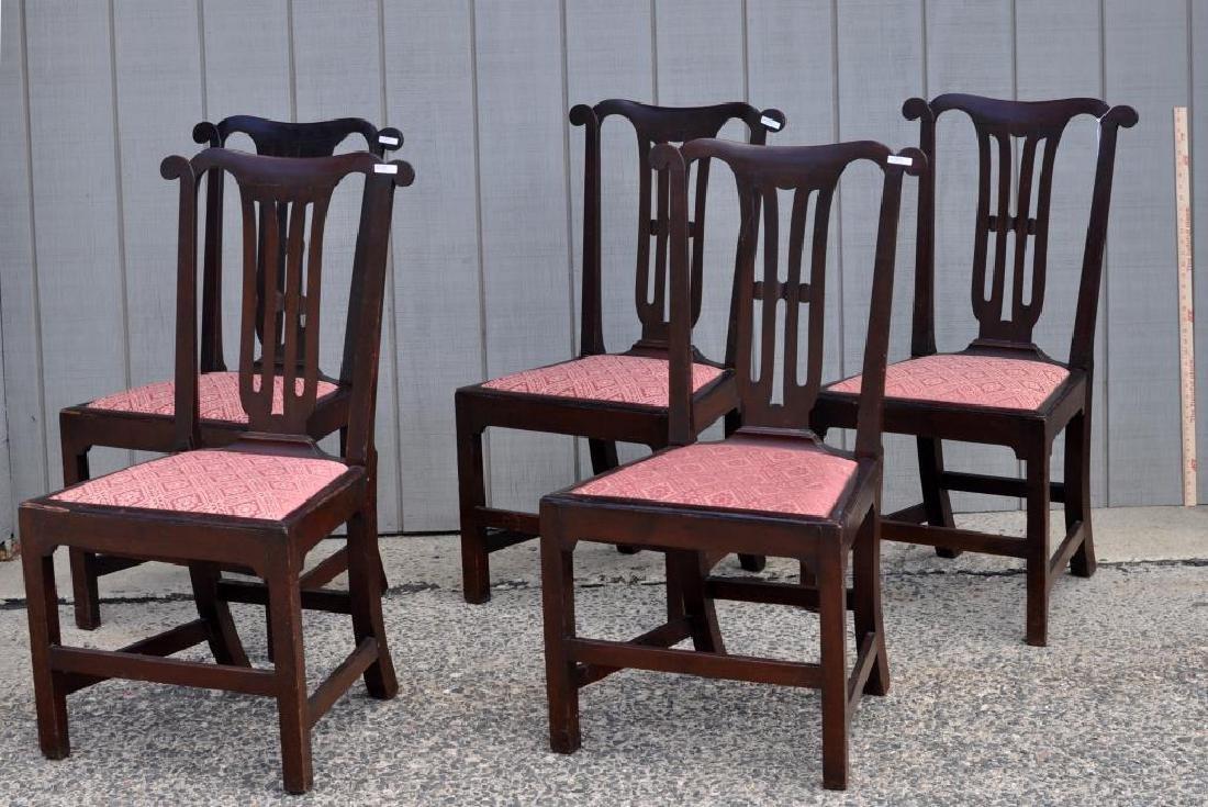 Set Five Georgian Mahogany Dining Chairs