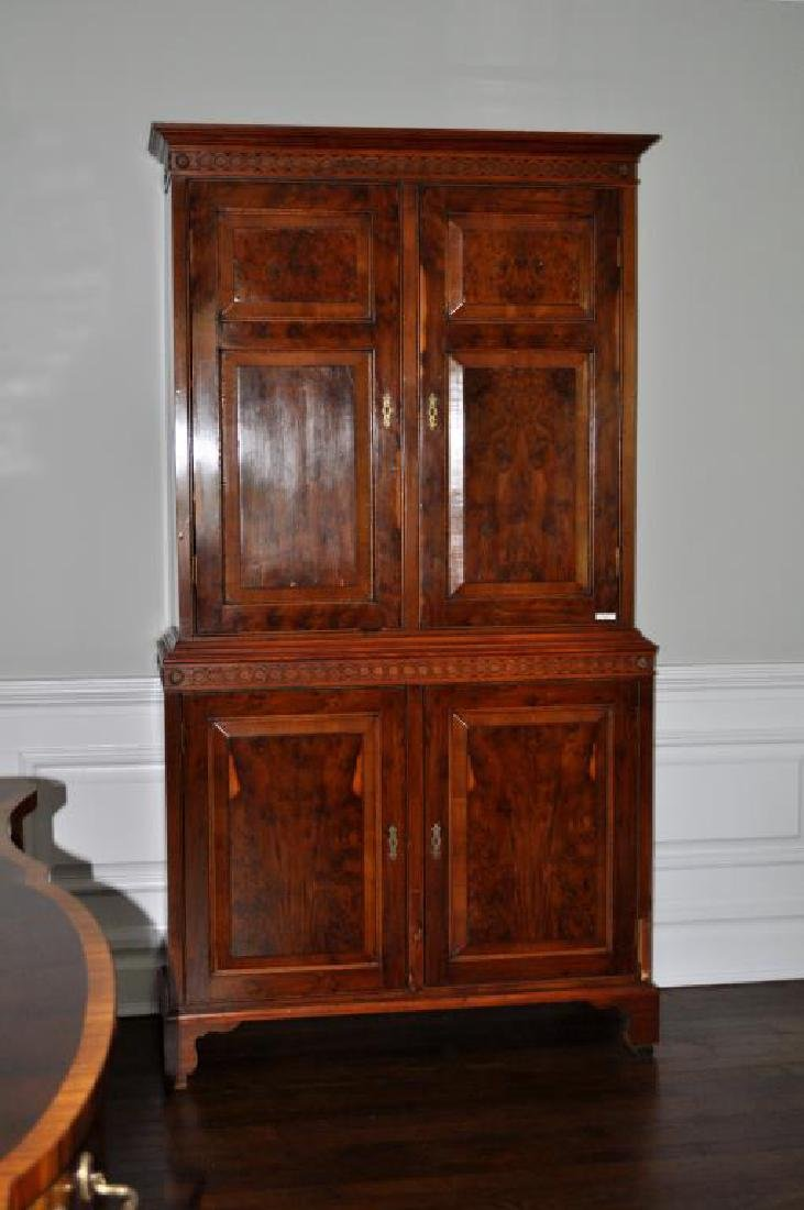 Georgian Style Figured Walnut Linen Cabinet