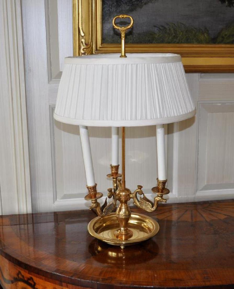 Brass Three Light Bouillotte Table Lamp