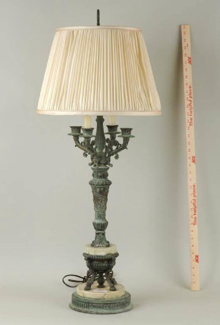 French Bronze & Marble Candelabra Form Lamp