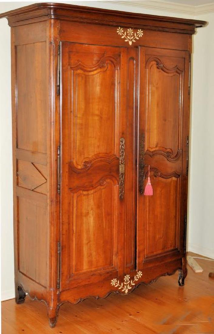 French Fruitwood Carved & Bone Inlaid Armoire