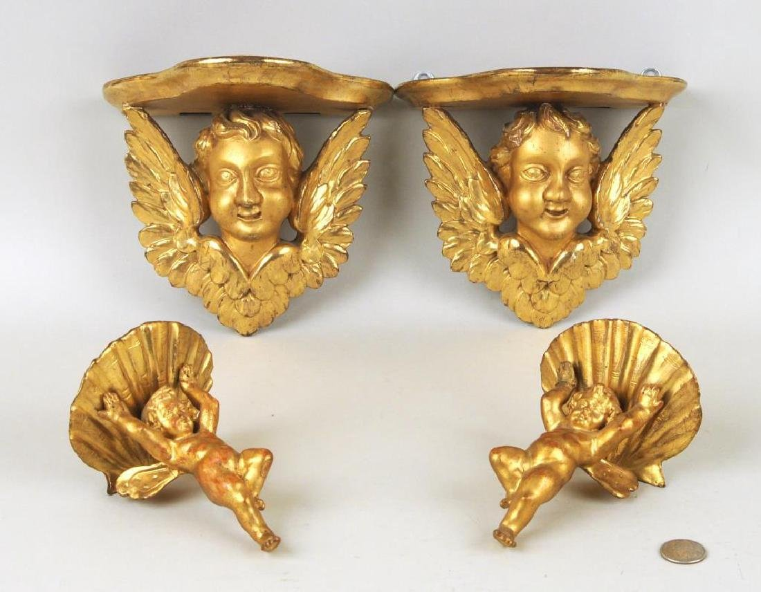 Group Four Putti Decorated Wall Brackets