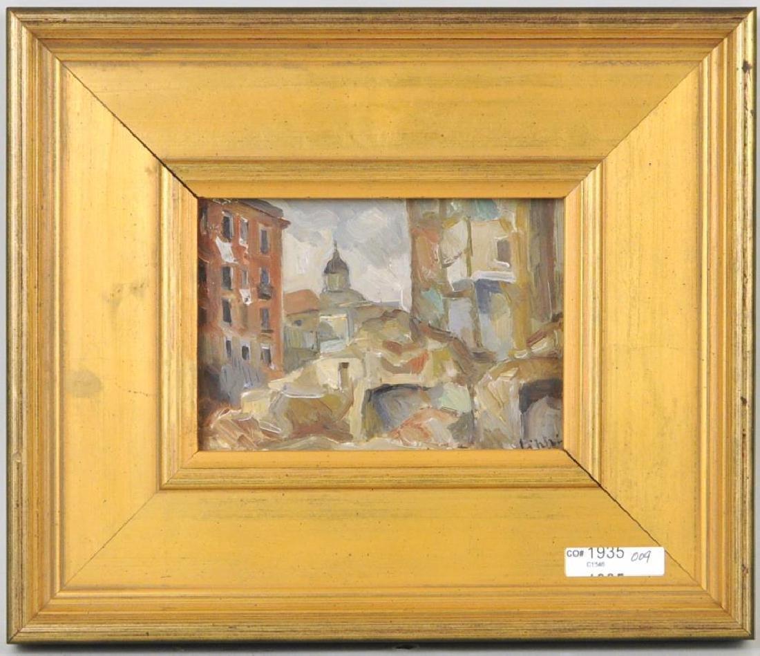"Raffaele Lippi, ""Town Interior"" Oil On Panel"
