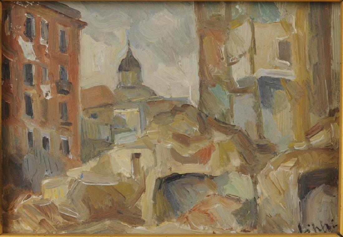 "Raffaele Lippi, ""Town Interior"" Oil On Panel - 3"
