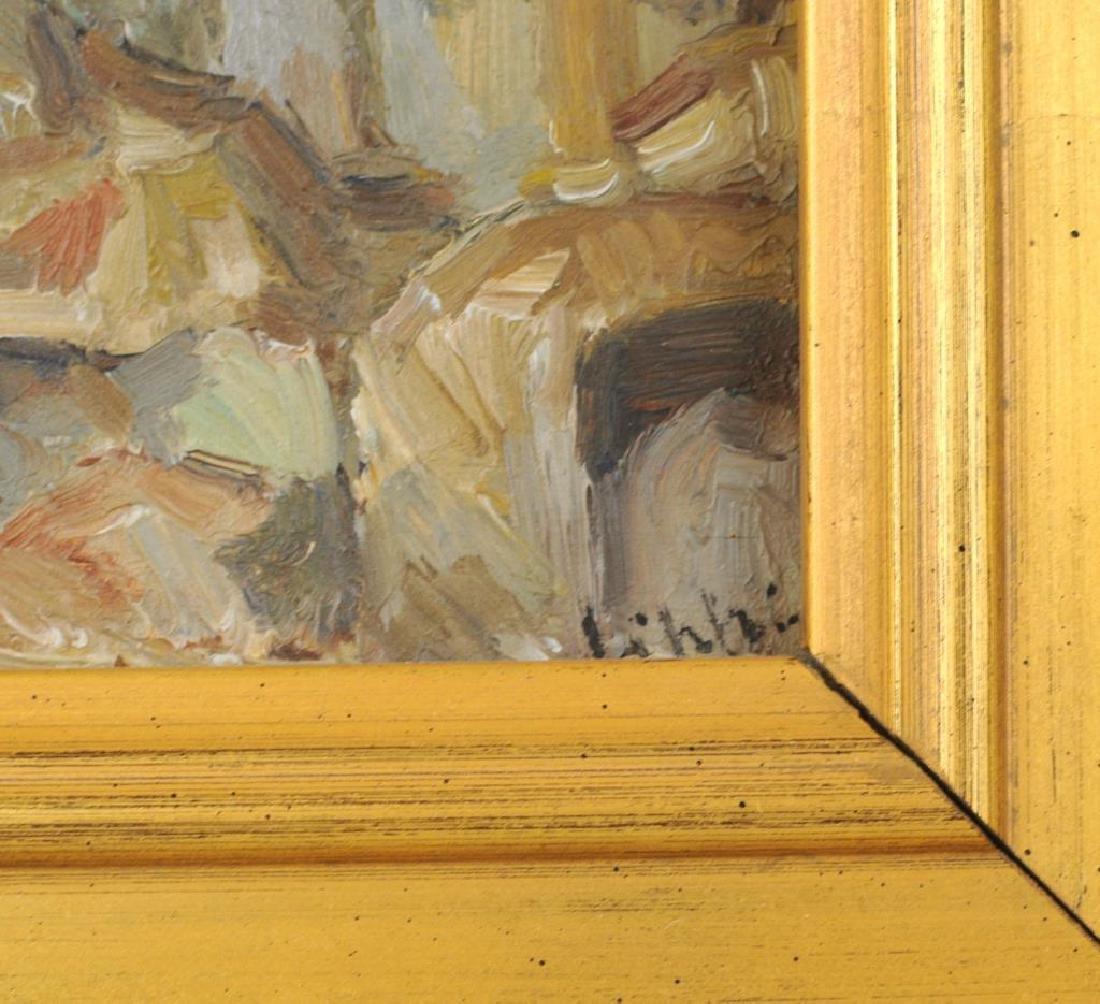 "Raffaele Lippi, ""Town Interior"" Oil On Panel - 5"