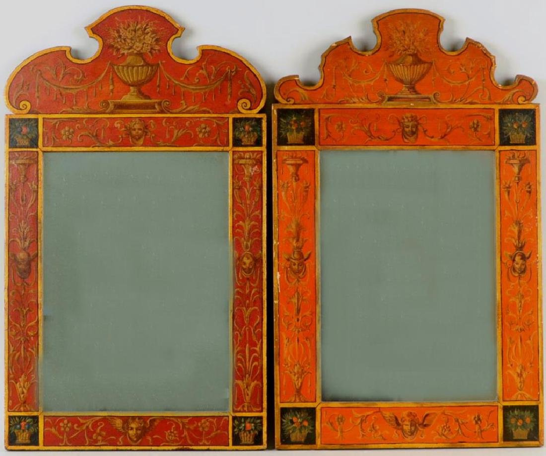 Pair Neoclassical Style Painted Mirrors