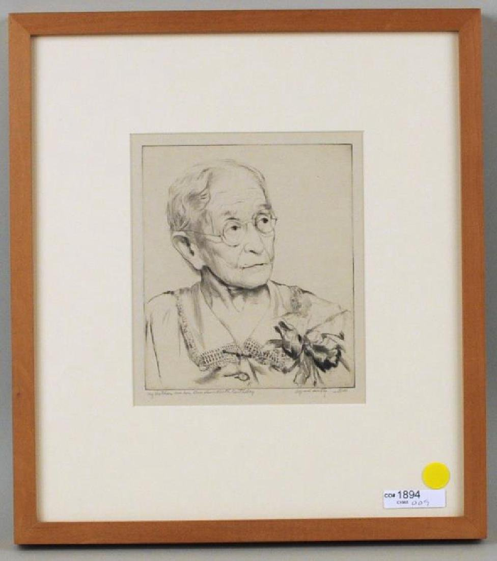 """A. Hutty, Etching """"My Mother On Her 100 Birthday"""""""