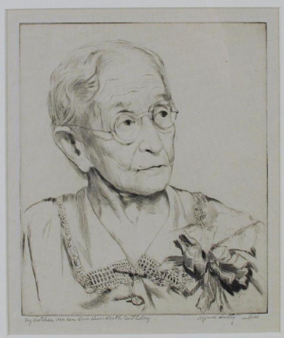 """A. Hutty, Etching """"My Mother On Her 100 Birthday"""" - 3"""