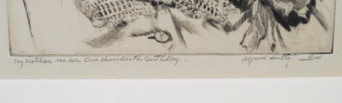 """A. Hutty, Etching """"My Mother On Her 100 Birthday"""" - 4"""