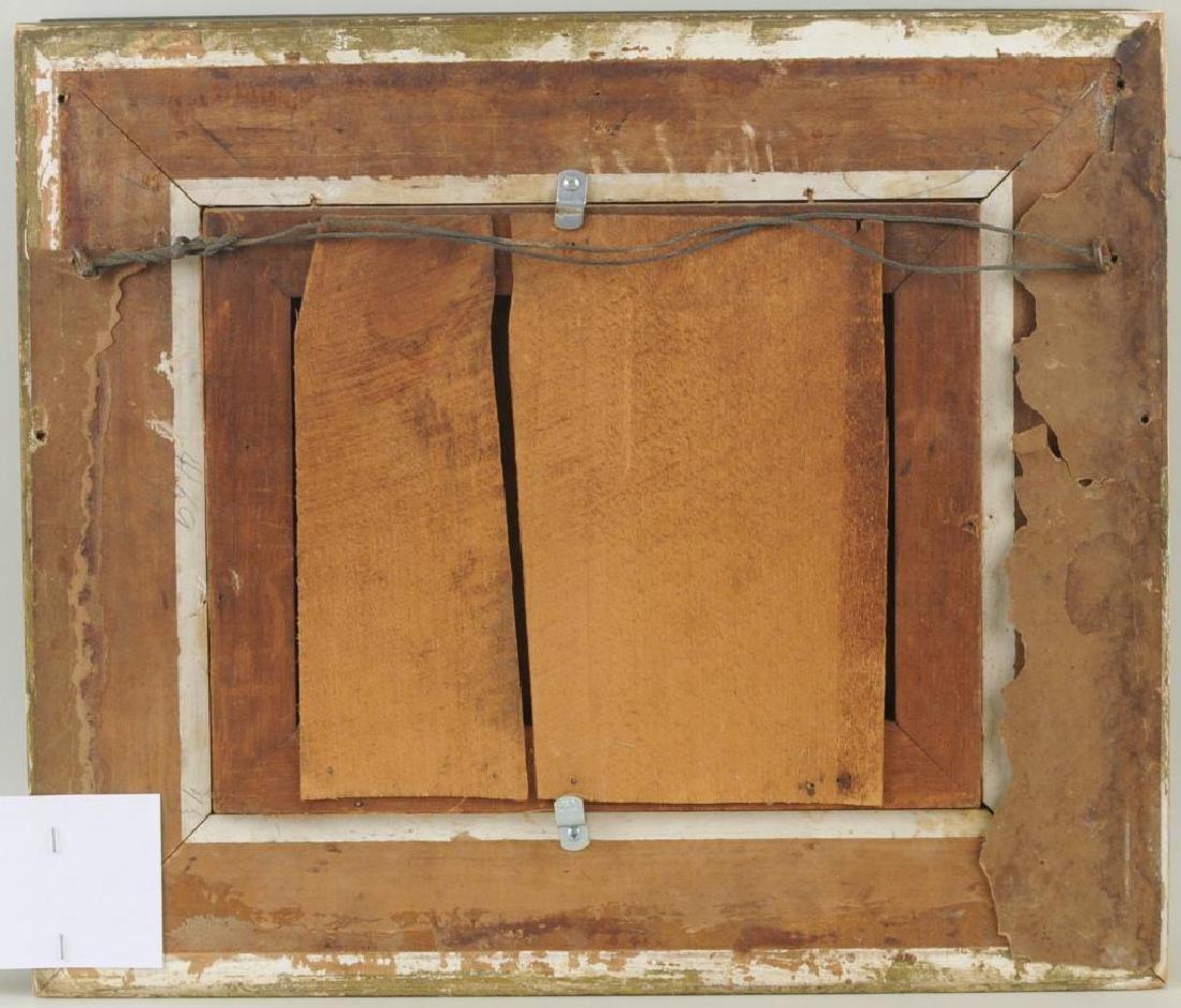 Framed Chromolithograph Chickens In Barnyard - 2