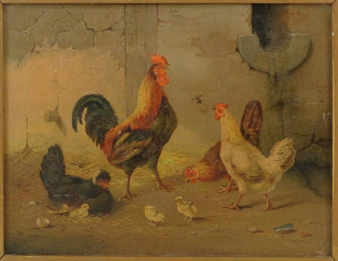 Framed Chromolithograph Chickens In Barnyard - 3