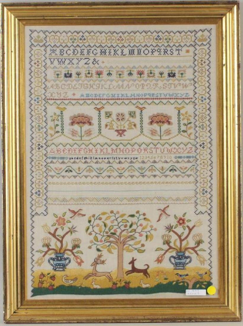 Large Vintage Framed Crewelwork Sampler