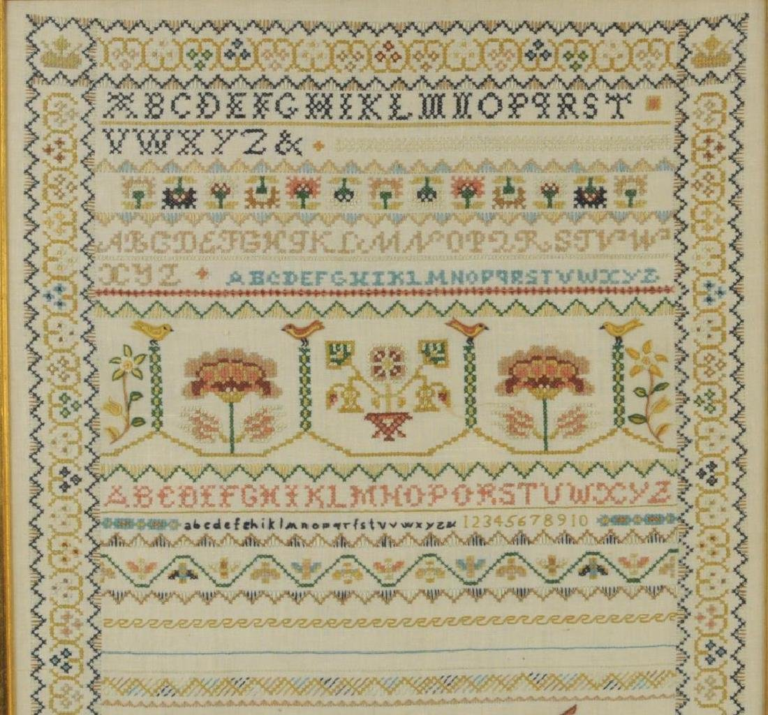 Large Vintage Framed Crewelwork Sampler - 4