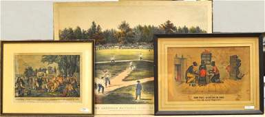 Three Currier  Ives Prints