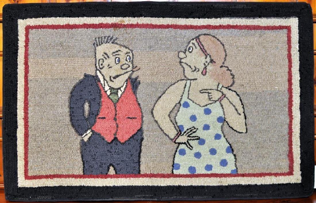 """Folk Art """"Maggie & Jiggs"""" Hooked Rug"""