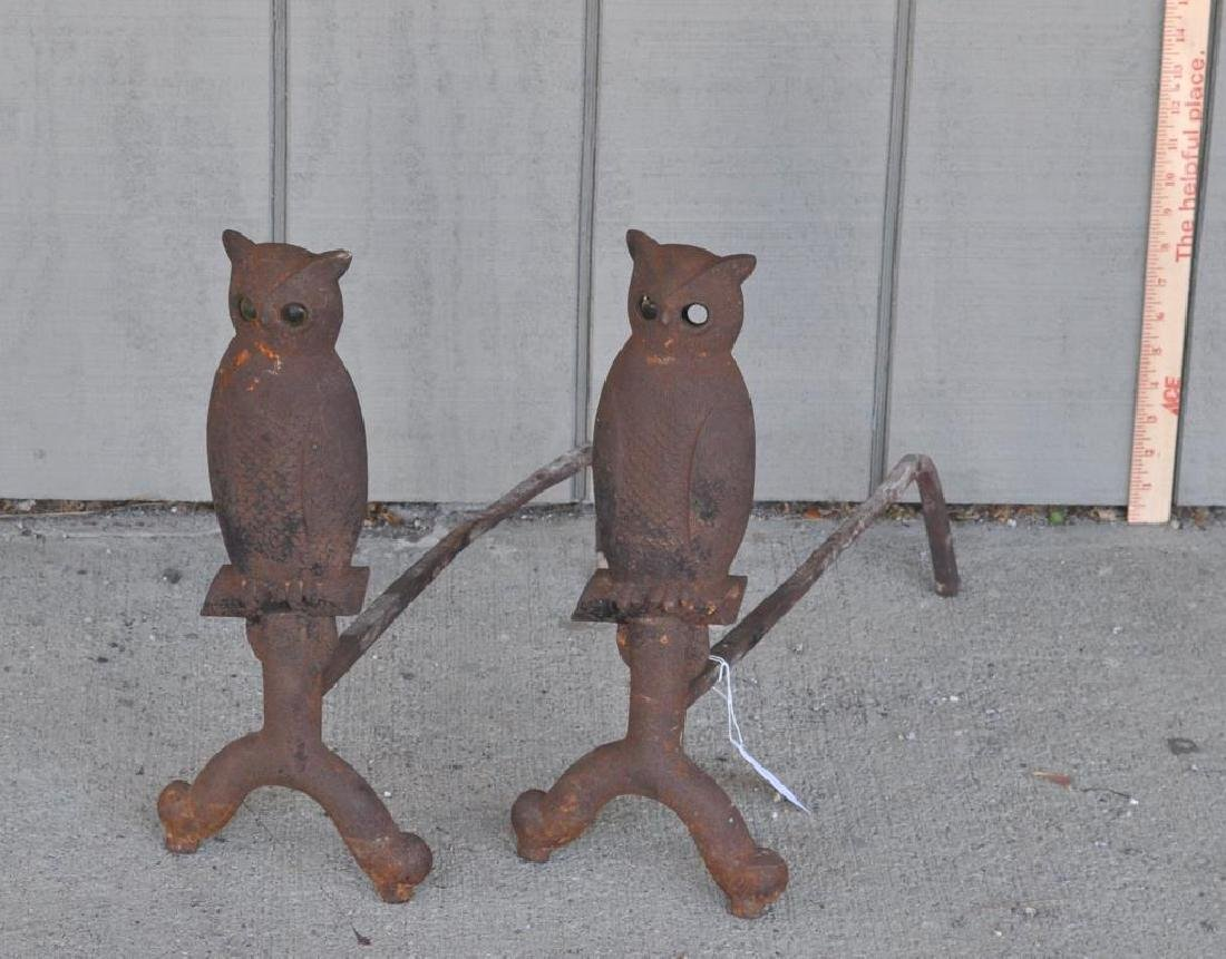 "Pair Cast Iron ""Owl"" Form Andirons"