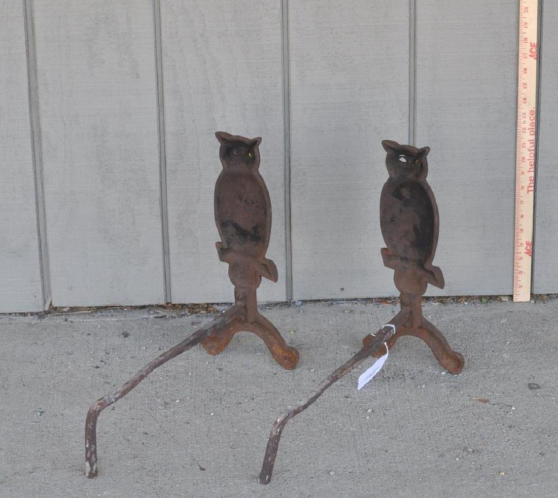 "Pair Cast Iron ""Owl"" Form Andirons - 2"