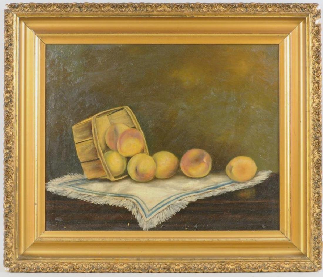 "Folk Art Painting ""Basket Of Peaches"" O/C"