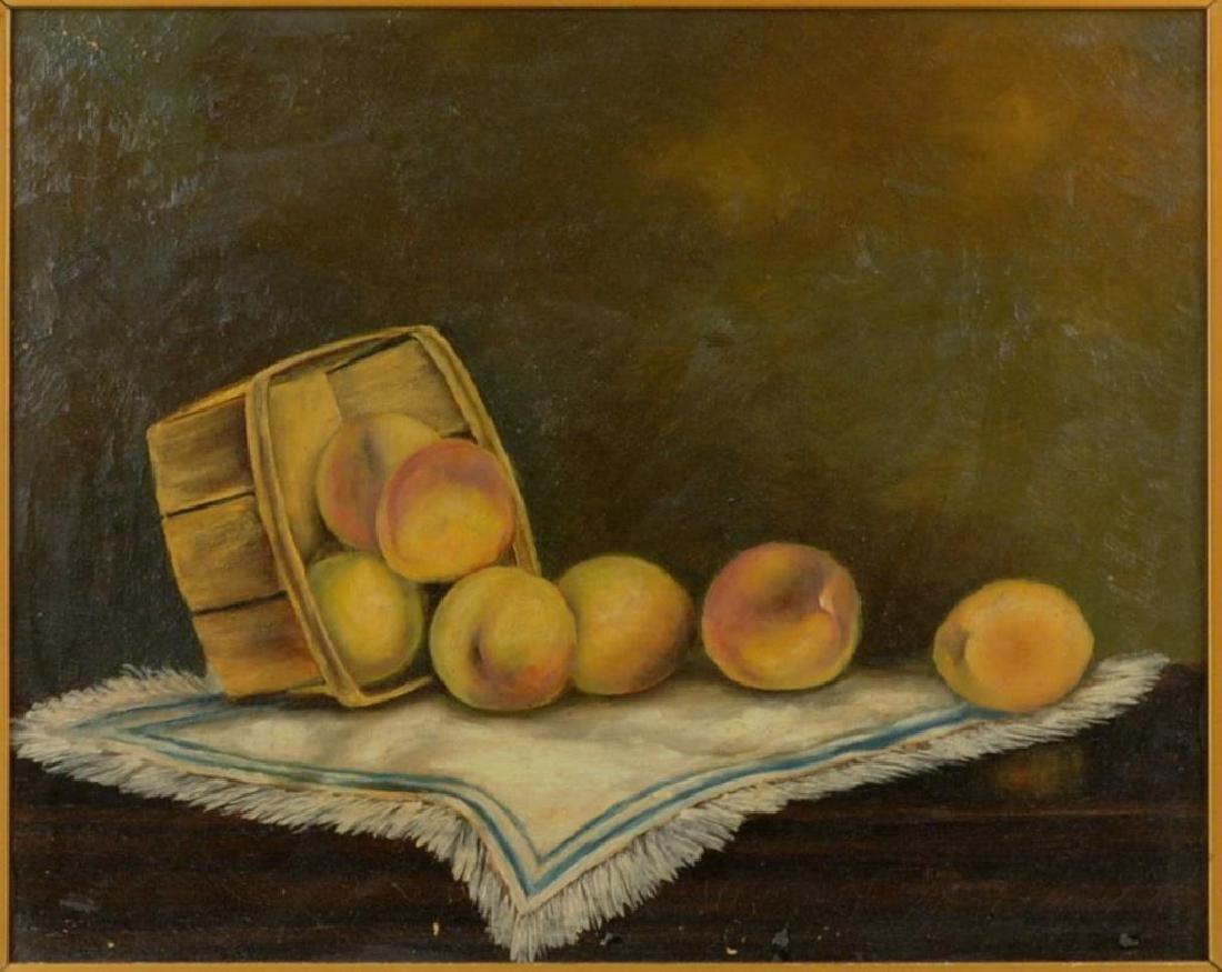 "Folk Art Painting ""Basket Of Peaches"" O/C - 3"